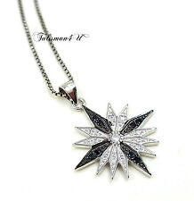 """Sterling Silver Christmas Star Cubic Zirconia Crystals + 18"""" Chain + Certificate"""