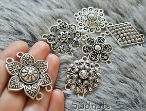6 Mixed Antique Style Silver Connectors Charms Pendants Jewellery Making UK