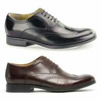 Steptronic BURGOS Mens Formal Elegant Dress Lace Up Waxed Leather Oxford Brogues