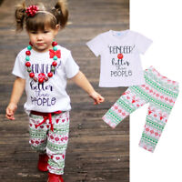 Kids Baby Girl Christmas Outfit Tee Shirt T-shirt Tops + Pants Clothes