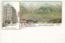 Litho-Karte Gruss aus Innsbruck mit Kathol. Casino, Tirol   (E7)