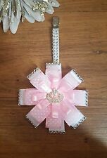 Stunning pink spot dot crown clip  diamante bling pram charm