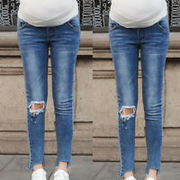 Fashion Women Pregnancy Leggings Jeans Maternity Pants Hole Belly Denim Trousers
