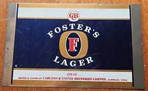 FOSTER'S LAGER 375ml UNUSED FLAT STEEL BEER CAN RARE