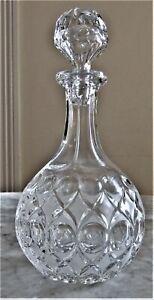 Vintage Art Deco Fancy, Frosted, Hand Cut Beyer German Crystal Wine Decanter