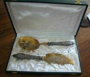 Antique French 2 Serving Pieces With Sterling Silver Hallmarked Handles-In Box