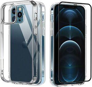 iPhone 12 / 12 Pro Hülle + 11D Glas Panzerfolie Schutzglas transparent Case