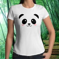 Cute Panda Adorable KungFu Funny Eyes Face Womens Juniors Top Tee T-Shirt Cotton