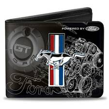 Men Wallet Bifold Black Ford Mustang Tri Bar Stripe GT Cobra Motor Blueprint