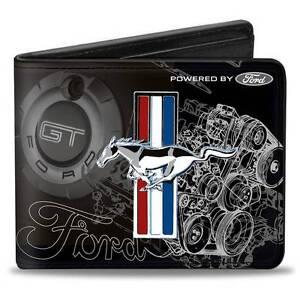 Men Wallet Bifold Black Ford Mustang Tri Bar Stripe GT Cobra Motor Blueprint