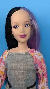 Reroot Disney Princess Aurora Sleeping Beauty Barbie Doll Black Purple Hair ooak