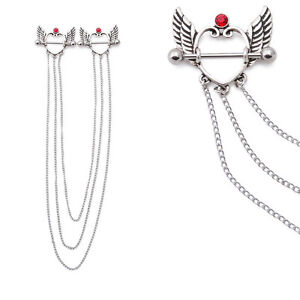 Nipple Chained 14G Nipple Shield Jewelry Surgical Steel Soaring Love Design
