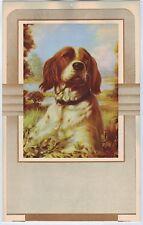 Vintage Calendar Print Original C1930S Dog Art Deco Spaniel Awaiting The Call