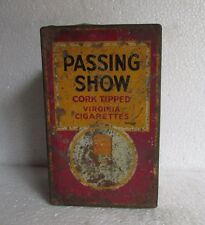 Vintage Passing Show Cork Tipped Virginia Cigarettes Ad. Litho Tin Box