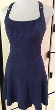 NWOT ARMANI EXCHANGE A|X Sleeveless Fitted Flare Knit Navy Blue Tank Dress XS