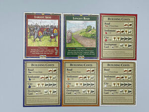 THE SETTLERS OF CATAN Game #3061 Building Costs 6 Replacement Cards Parts