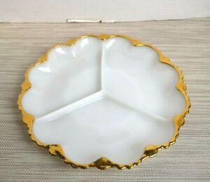 White & Gold 3 Divided Section Serving Dish Platter