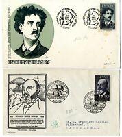 2 Sobres primer dia sellos España 1956 Fortuny y Torres Quevedo