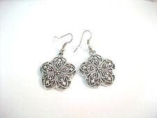 """Tibetan Silver Flower Scrollwork Dangle Earrings Silver Hooks 1.75"""" Drop NEW"""