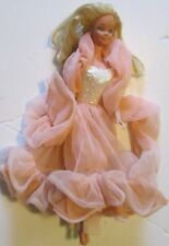 Vintage 1980s Mattel BARBIE Doll wearing PEACHES N CREAM gown & boa