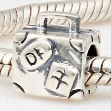 Suitcase Charm Bead 925 Sterling Silver