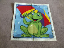 Collectible Needlepoint Sampler Complete Frog Bold Colors Worked Are 15.5 x 15.5