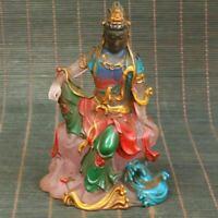 Collect old beijing liu li Coloured glaze Guanyin Kwan yin bodhisattva statue