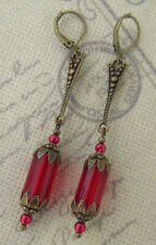 ART DECO STYLE DANGLE DROP EARRINGS Red Vintage themed