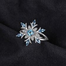 Women Blue Sapphire Crystal Opal Birthstone Princess Wedding Engagement Ring SI