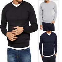 Threadbare Mens Bleak Sweater Lightweight Knitted Pull Over V-Neck Smart Jumper
