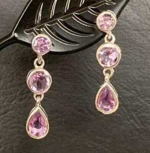925 Sterling Silver Amethyst Earrings Multi 3 Gemstones Round Teadrop Earrings