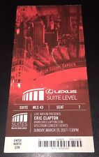 Eric Clapton Concert Ticket Stub MSG NYC 3/19/2017 SUITE STYLE Rare