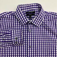 Apt. 9 Button Up Dress Shirt Men's 16.5 Long Sleeve Purple White Check Stretch