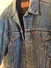 Vintage LEVIS Blue DENIM Jean JACKET Gray Blanket Lined Sz 44 USA 70506 0317