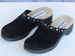 6 | Minnetonka Black Suede Leather Women Backless Slide Pump Heels Clog Shoe
