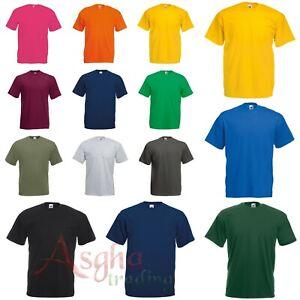 Mens Original Plain T Shirt Fruit of the Loom 100% Cotton Short Sleeve Blank Tee