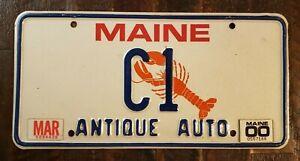 1989 MAINE ANTIQUE AUTO Lobster License Plate # C1