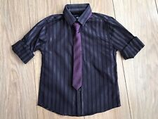 Boys BHS party shirt and tie.Purple and Silver.Age 4.
