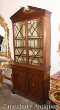 Sheraton Revival Mahogany Bookcase Display Cabinet