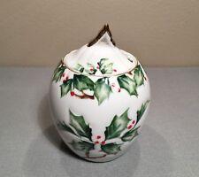 Vtg Lefton Holly Berry Garland Hand Painted Jam Jelly Jar Pot Server Lid NE 2039