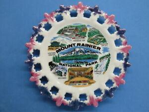 Souvenir Porcelain Hanging Plate ~ MOUNT RAINIER National Park, WASHINGTON State
