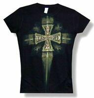 Disturbed Cross Girls Juniors Black T Shirt New Official Band Merch