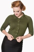 Forest Green Retro Rockabilly Vintage Peter Pan Collar Cardigan Banned Apparel