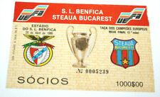 football Ticket S.L Benfica v Steaua Bucuresti 1/2 finale Champion's Cup 1988