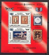 Aviation plane and Switzerland stamp on stamp expo S/S URUGUAY Sc#1520 MNH cv$11