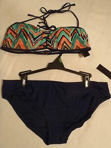 Attention Swimwear L or S/M Choice Swim Halter Bra Swimsuit Panty Set NWT