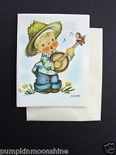 D849- Vintage Ars Sacra 1947 Eva Harta Greeting Card Boy Playing Banjo & Bird