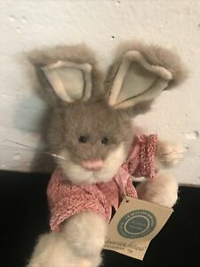 "Jennifer Hopkins Boyd's Hare Bunny Rabbit Plush 7"" 9"" w/ears up pink Sweater NWT"