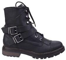 Rocket Dog Lacie Combat BOOTS Womens Buckle Lace Side Zip Fashion Shoes Black Uk5 - Eu38