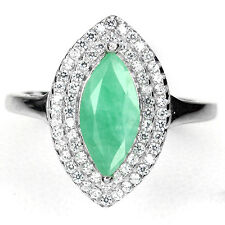 GENUINE MQ 11x6mm. GREEN EMERALD SOLITAIRE, W.CZ ACCENT STERLING 925 SILVER RING